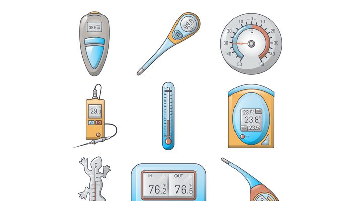 Thermometer indicators icons set, cartoon style