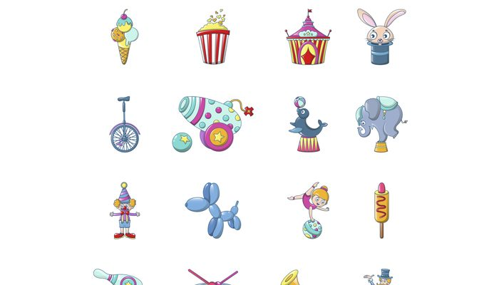 Circus fun show icons set, cartoon style