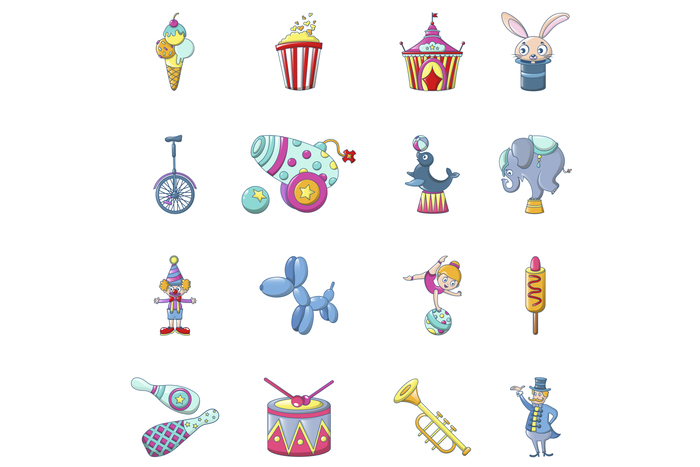 Circus fun show icons set, cartoon style