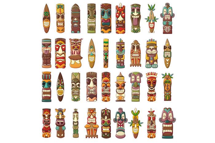 Tiki idols icon set, cartoon style