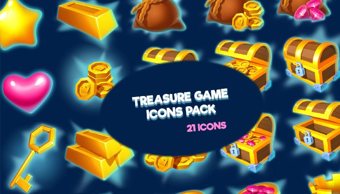 Treasure game icons pack