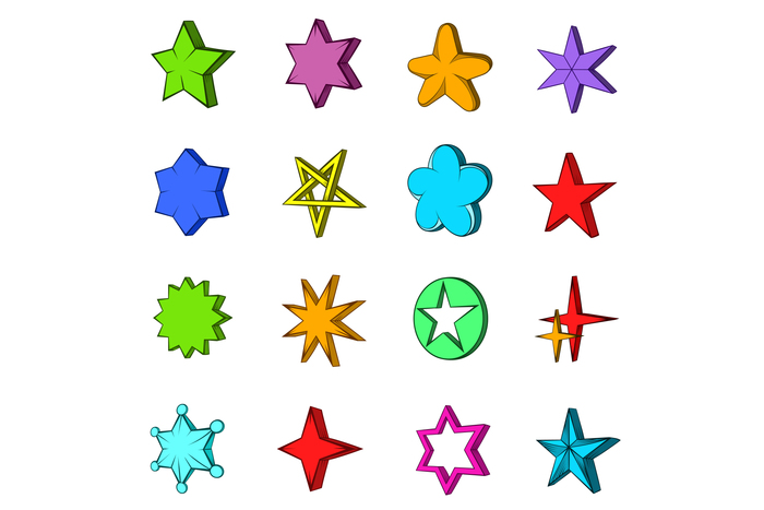 Star icons set, pop-art style