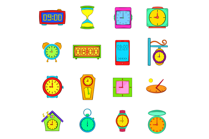 Time and Clock icons set, pop-art style