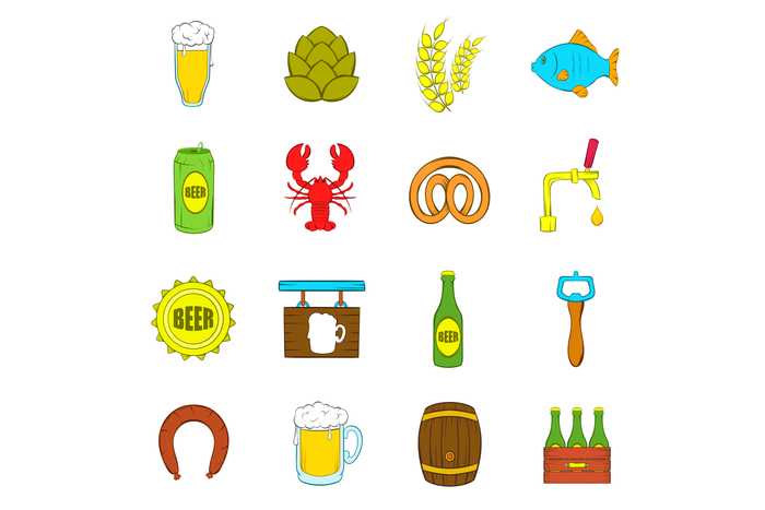 Beer icons set, pop-art style