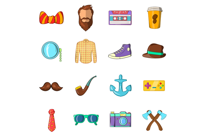 Hipster icons set, cartoon style