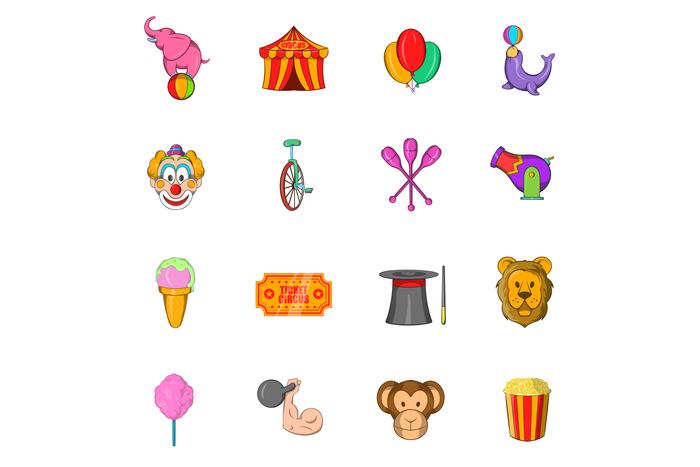 Circus Icons set, cartoon style