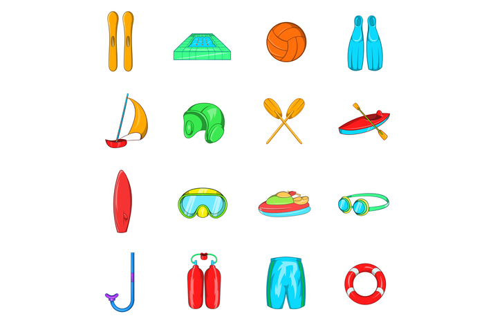 Water Sport Icons set, cartoon style