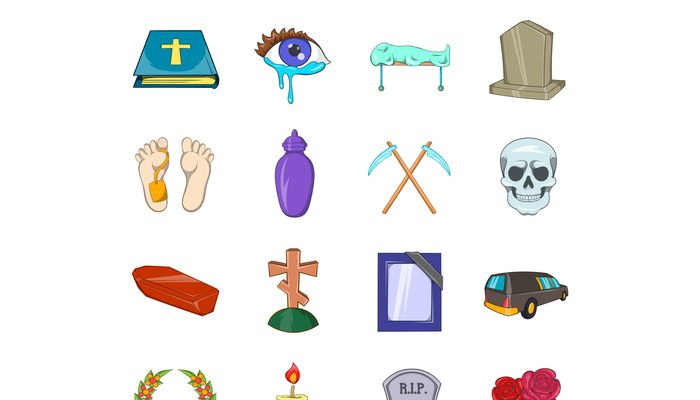 Funeral Icons set, cartoon style