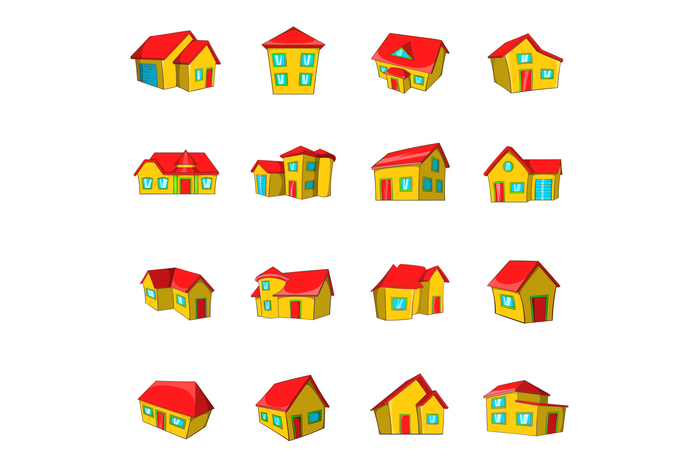 Town house cottage set, cartoon style