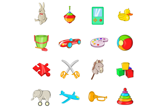 Toys icons set, cartoon style