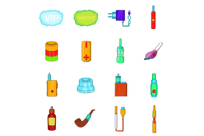 Electronic cigarettes icons set, cartoon style