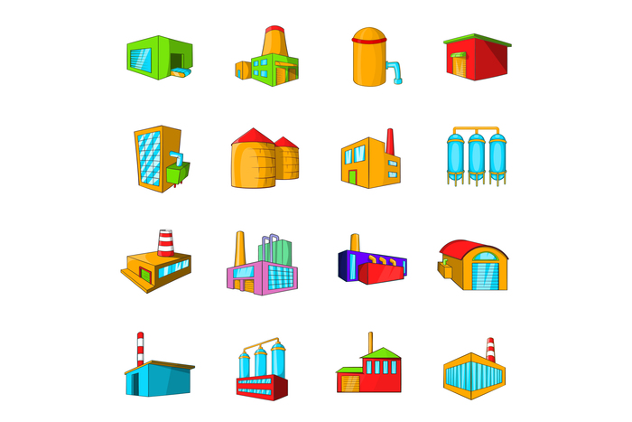 Industrial building plants and factories icons set