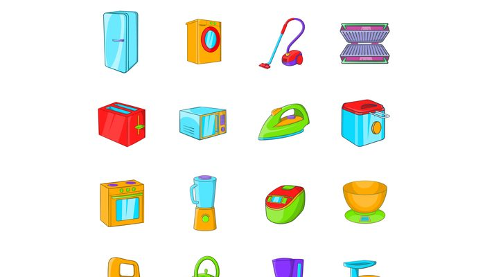 Household appliances icons set, cartoon style