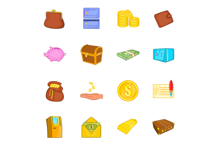 Finance icons set, cartoon style
