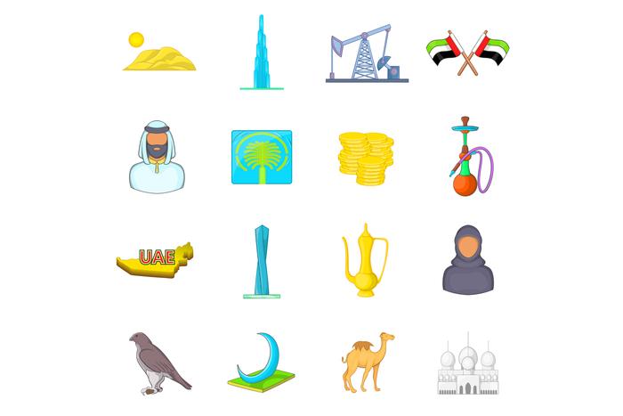 UAE icons set, cartoon style