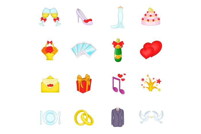 Wedding icons set, cartoon style