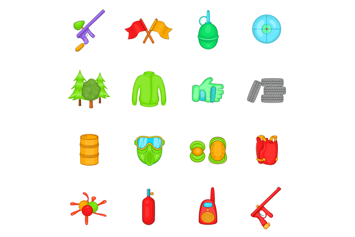 Paintball icons set, cartoon style