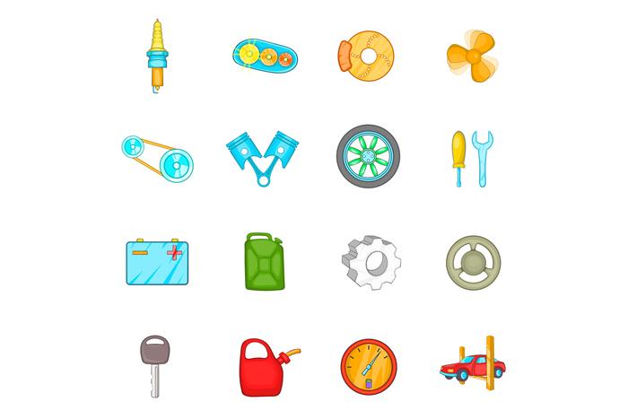 Auto spare parts icons set, cartoon style