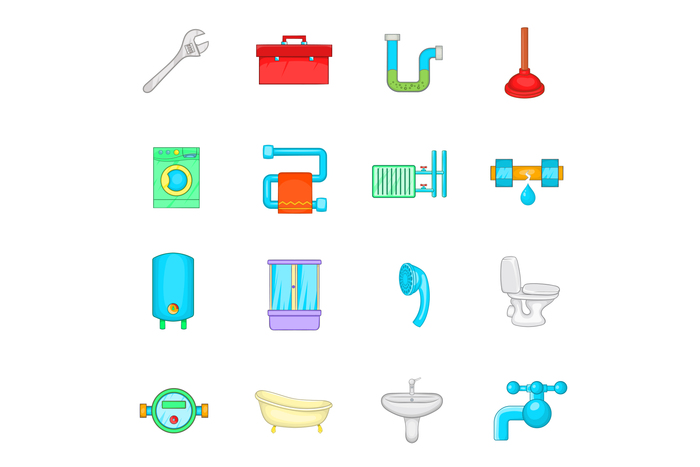 Bathroom icons set, cartoon style