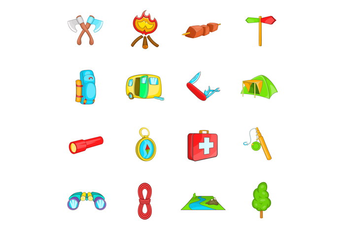Camping icons set, cartoon style