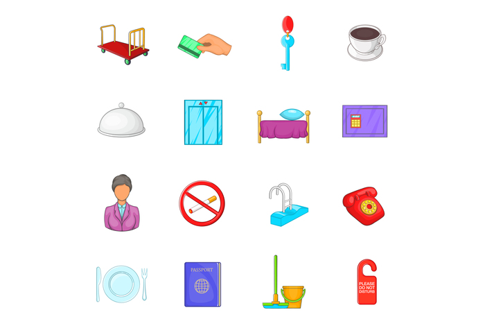 Hotel icons set in cartoon style