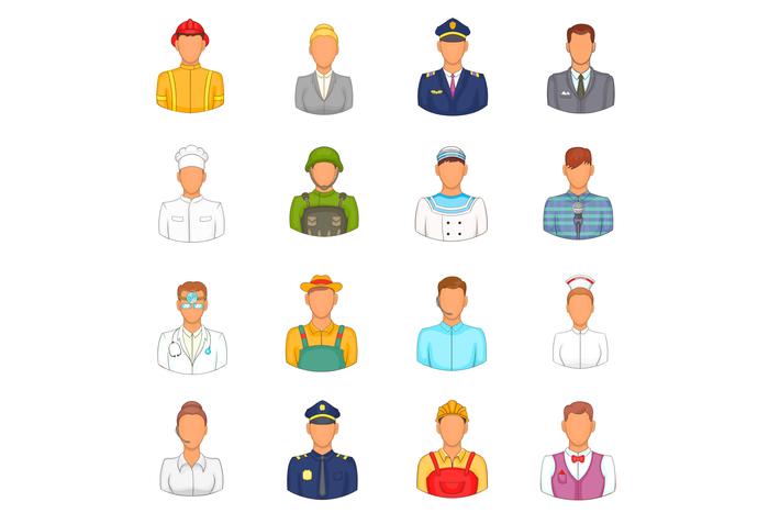 Professions icons set, cartoon style