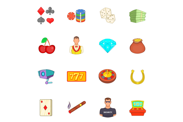 Casino icons set, cartoon style