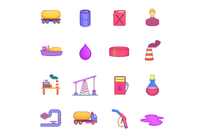 Oil industrial icons set, cartoon style