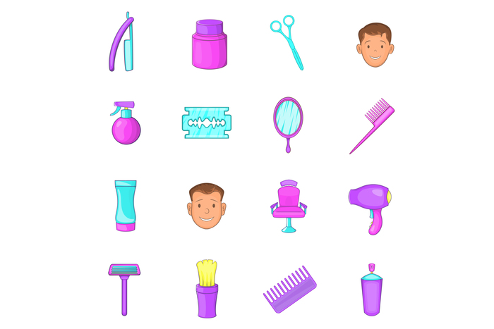 Barbershop icons set , cartoon style