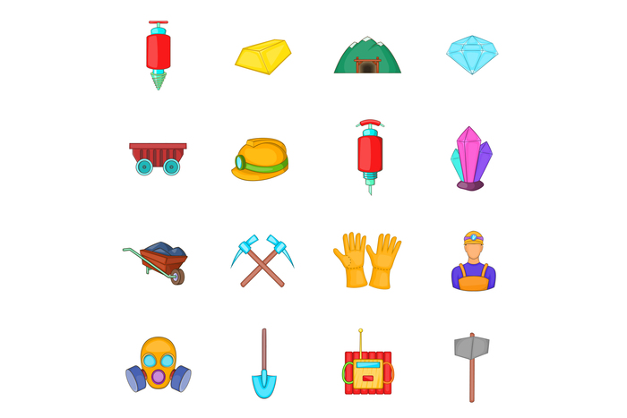 Mining icons set, cartoon style