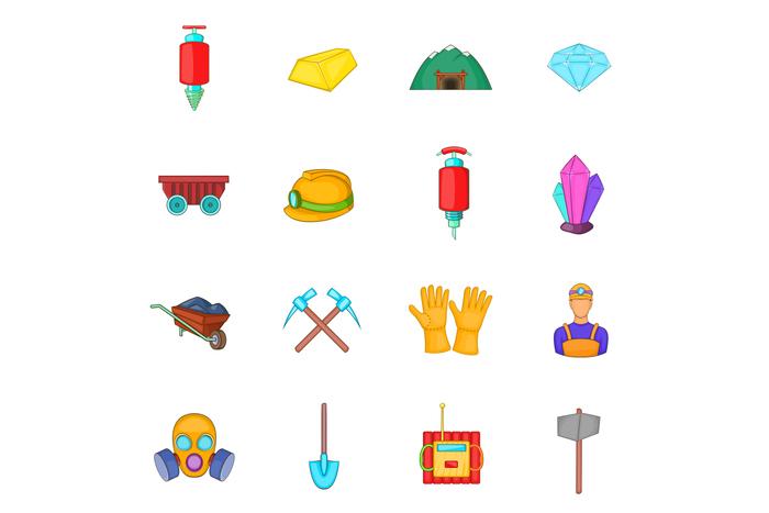 Mining icons set, cartoon style