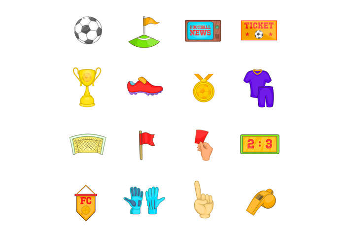 Soccer icons set, cartoon style