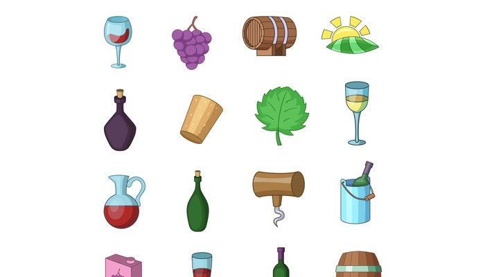 Wine yard icons set, cartoon style
