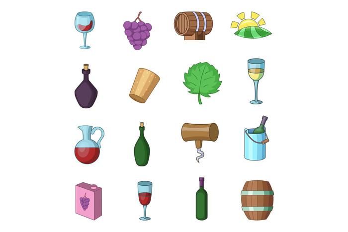 Wine yard icons set, cartoon style