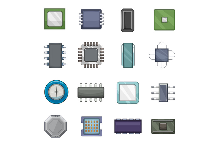 Computer chips icons set, cartoon style