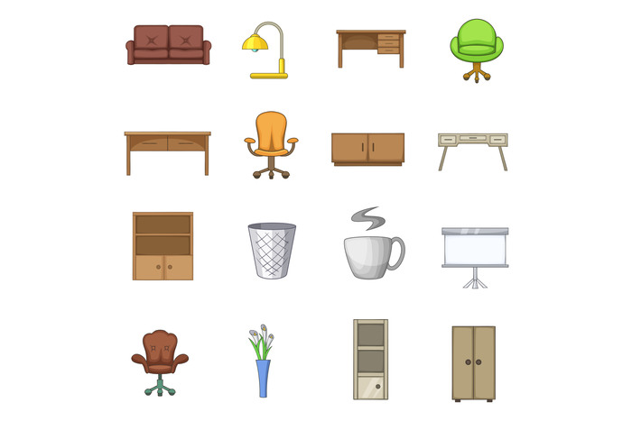 Office furniture interior icons set, cartoon style