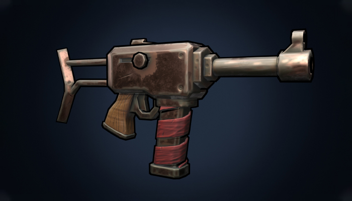 Stylized hand painted weapon gun