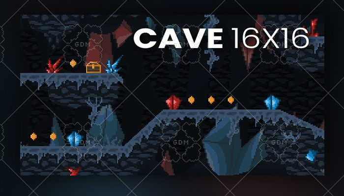 Cave 16×16 background and tileset