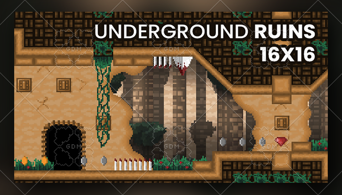 Underground ruins tile set and background