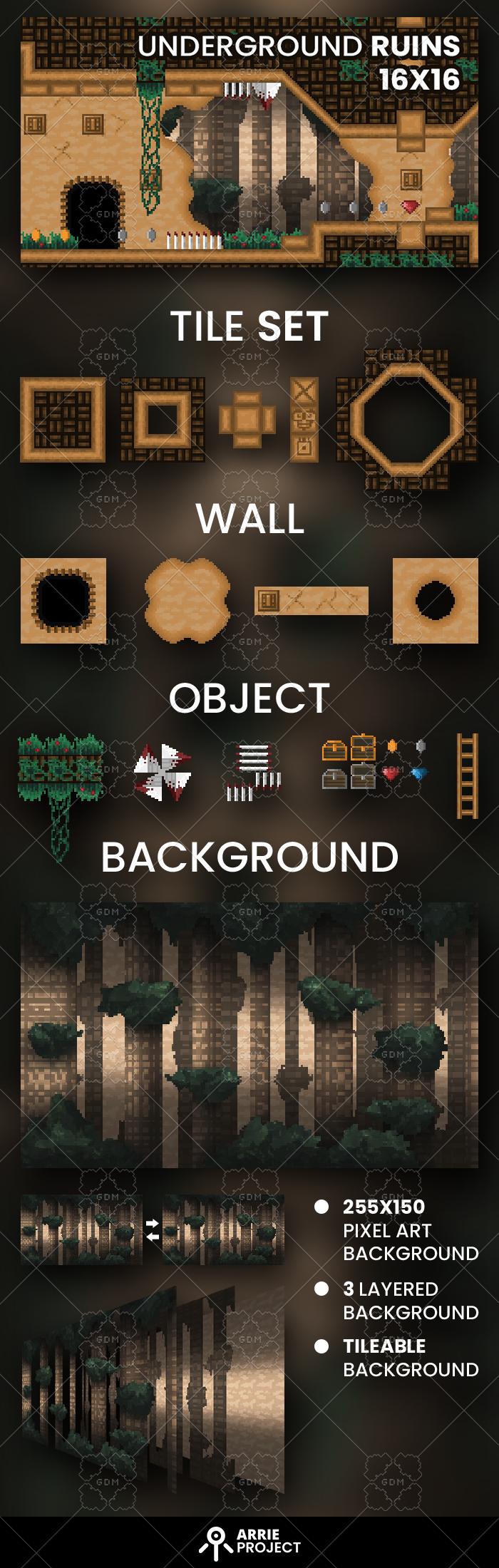Underground ruins tile set and background