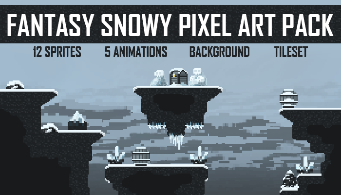 Fantasy snowy pixel art pack