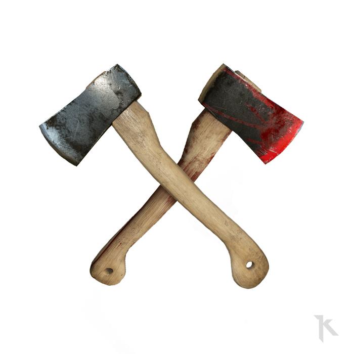 Classic survival axe / bloody axe