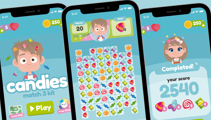 Sweet Candies Match 3 Game Gui Asset