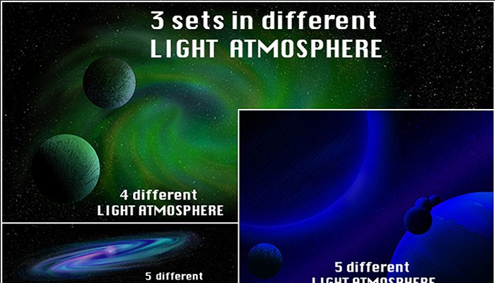 3 sets of Space Background with planets/Galaxy