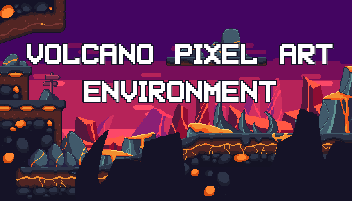 Volcano Pixel Art Environment