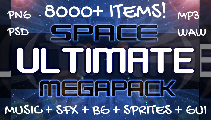 Ultimate Space Game Mega Asset Pack (8000+ Items: Music + SFX + BG + Units + GUI + More)