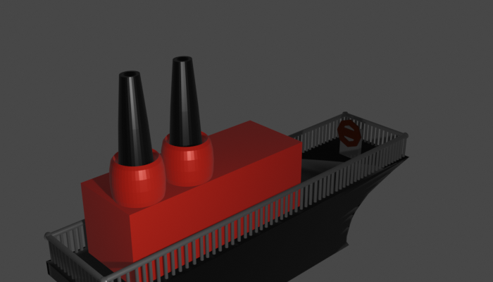 Black and red cruiser ship