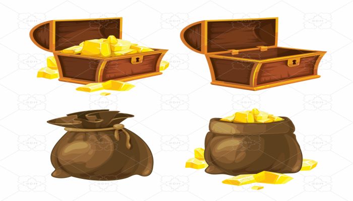 pack of chests and bags with treasure