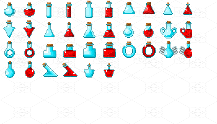 Pixel art potions.