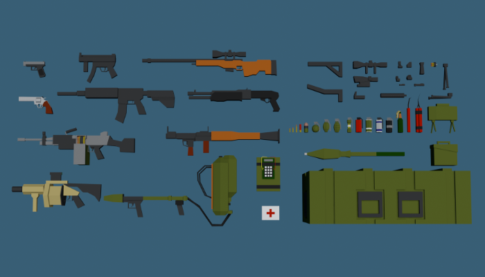 Weapons Pack Low Poly